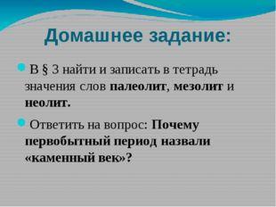 Домашнее задание: В § 3 найти и записать в тетрадь значения слов палеолит, ме