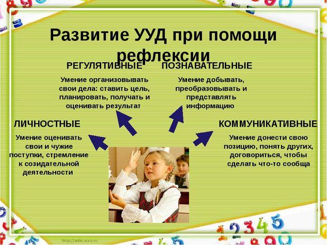 Развитие УУД при помощи рефлексии Умение оценивать свои и чужие поступки, стр...