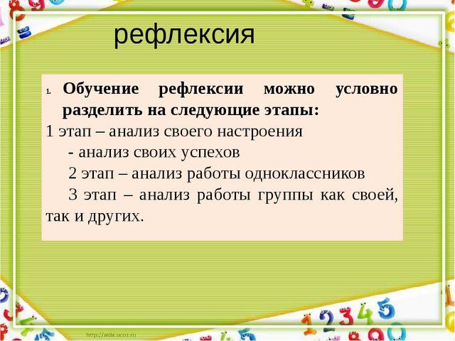 рефлексия Обучение рефлексии можно условно разделить на следующие этапы: 1 эт...