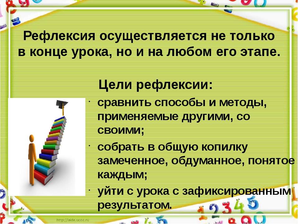 Цели рефлексии: сравнить способы и методы, применяемые другими, со своими; с...