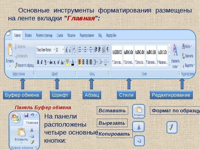 """Основные инструменты форматирования размещены на ленте вкладки """"Главная"""": Пан..."""