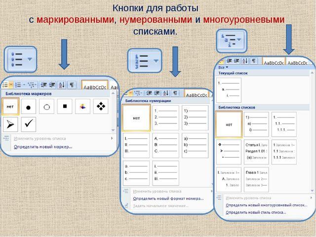 Кнопки для работы с маркированными, нумерованными и многоуровневыми списками.