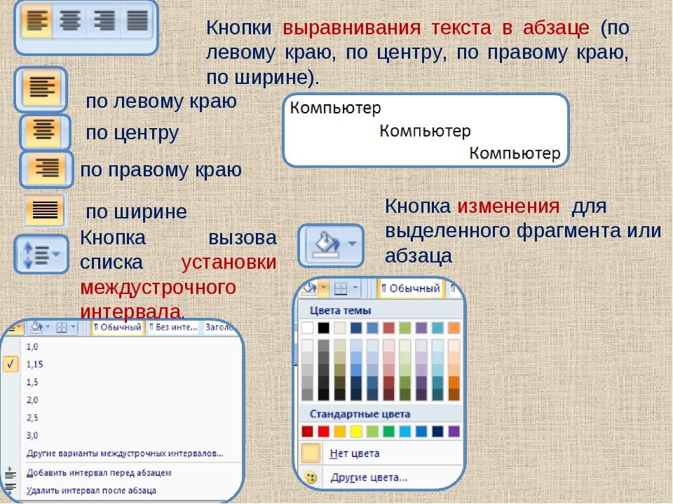 Кнопки выравнивания текста в абзаце (по левому краю, по центру, по правому кр...