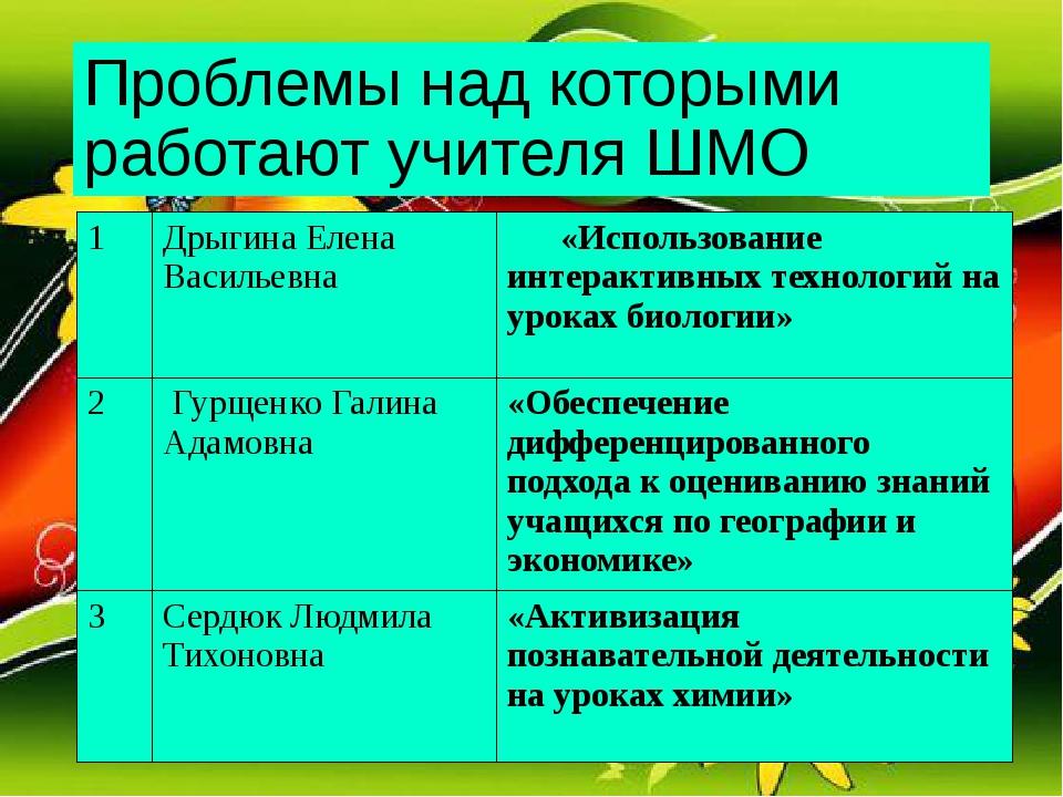 Проблемы над которыми работают учителя ШМО 1 Дрыгина Елена Васильевна «Исполь...