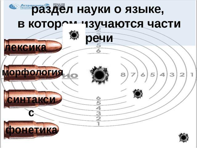 раздел науки о языке, в котором изучаются части речи лексика синтаксис морфол...