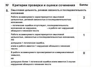 № Критерии проверки и оценки сочинения Баллы 5. Смысловая цельность, речевая