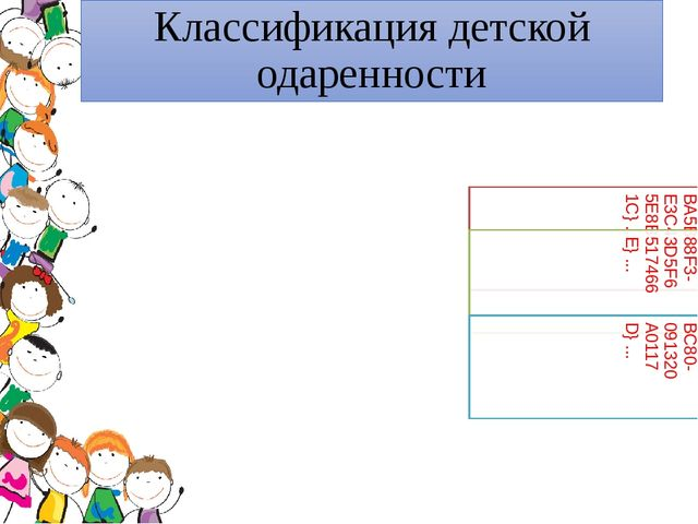 Классификация детской одаренности