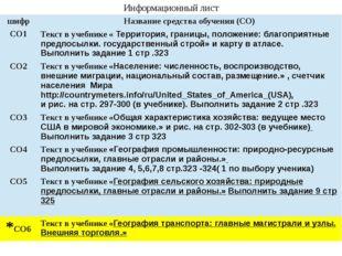 Информационный лист шифр Название средства обучения (СО) СО1 Текст в учебнике