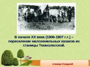 станица Отрадной В начале ХХ века (1906-1907 г.г.) – переселение малоземельны