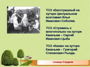 станица Отрадная ТОЗ «Бесстрашный на хуторе Центральном возглавил Илья Иванов
