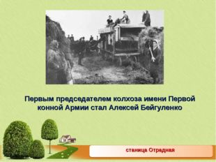 станица Отрадная Первым председателем колхоза имени Первой конной Армии стал