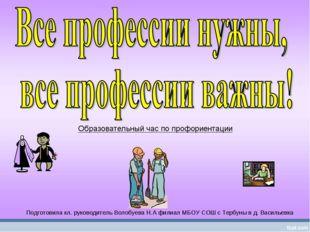 Моя будущая профессия Подготовила кл. руководитель Волобуева Н.А филиал МБОУ