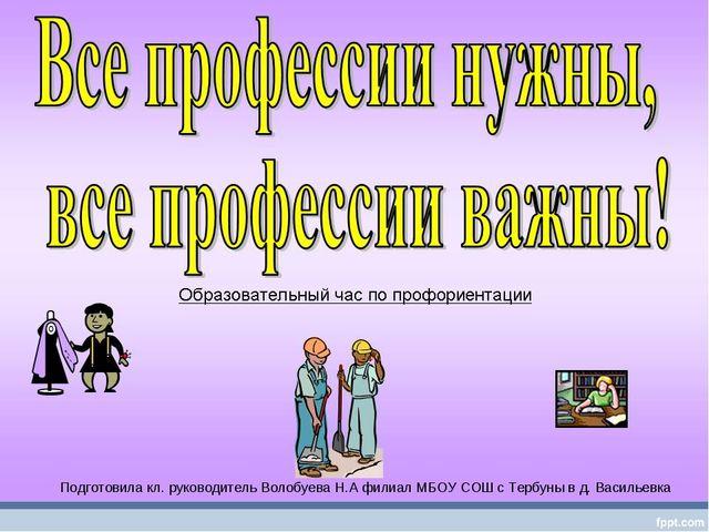 Моя будущая профессия Подготовила кл. руководитель Волобуева Н.А филиал МБОУ...