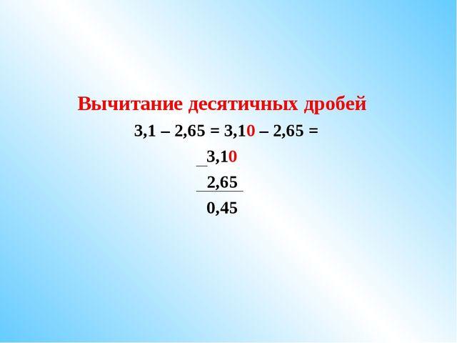 Вычитание десятичных дробей 3,1 – 2,65 = 3,10 – 2,65 = 3,10 2,65 0,45