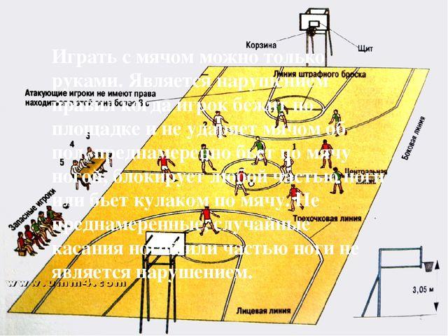 Играть с мячом можно только руками. Является нарушением правил когда игрок бе...