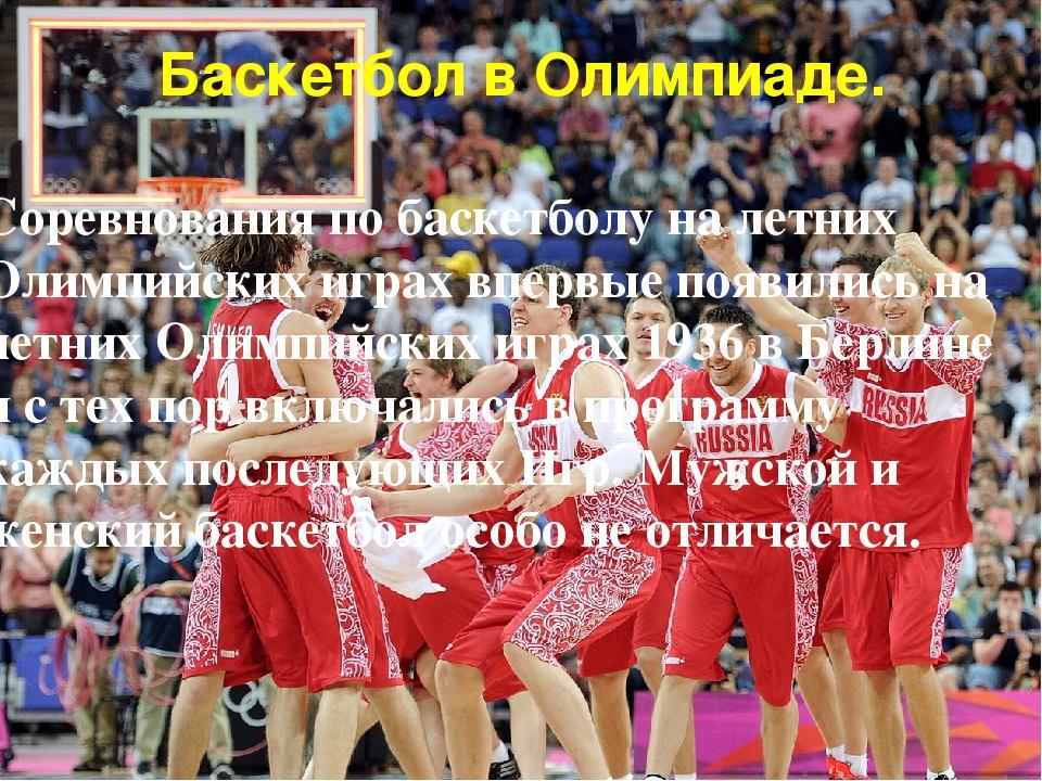 Баскетбол в Олимпиаде. Соревнования по баскетболу на летних Олимпийских играх...