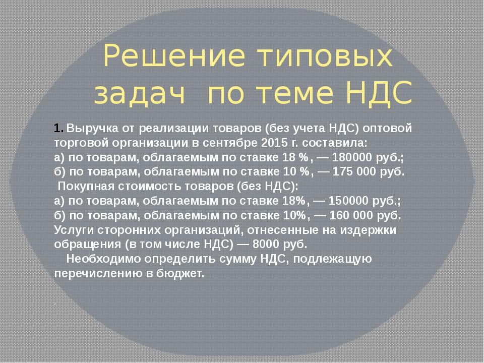 Выручка от реализации товаров (без учета НДС) оптовой торговой организации в...