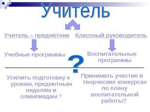 Учитель – предметник Учебные программы Усилить подготовку к урокам, предметны