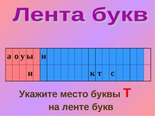 Укажите место буквы Т на ленте букв а о и у ы н с к т