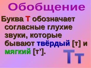 Буква Т обозначает согласные глухие звуки, которые бывают твёрдый [т] и мягки