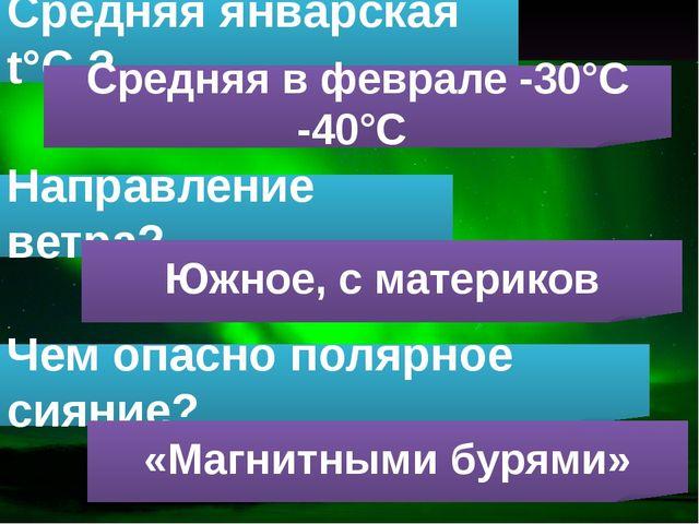 Средняя январская t°С ? Средняя в феврале -30°С -40°С Направление ветра? Южно...