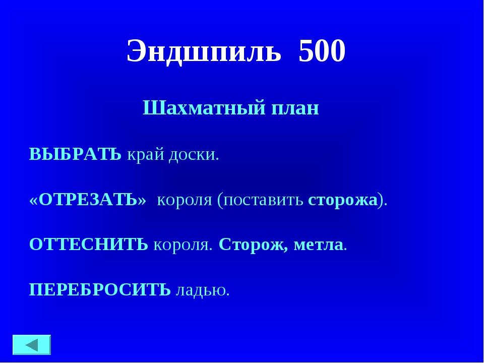 Эндшпиль 500 Шахматный план ВЫБРАТЬкрай доски. «ОТРЕЗАТЬ» короля (поставить...