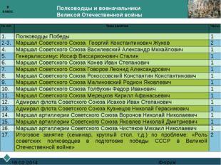 Полководцы и военачальники Великой Отечественной войны Форум 18.02.2014 9 кл