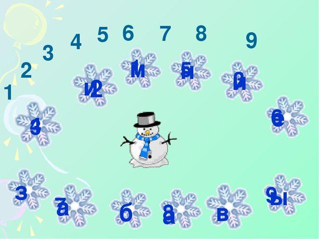 1 2 3 м и 4 5 н 3 и 6 е 7 8 9 1 2 3 4 5 6 7 8 9 з а б а в ы