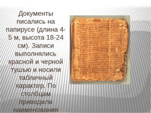 Документы писались на папирусе (длина 4-5 м, высота 18-24 см). Записи выполня