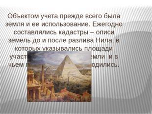 Объектом учета прежде всего была земля и ее использование. Ежегодно составлял