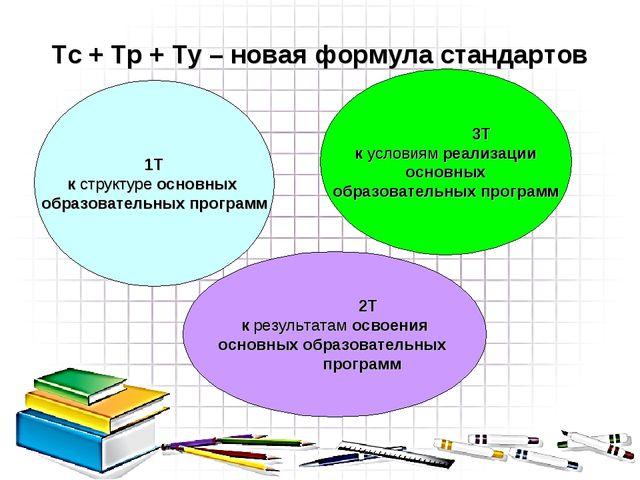 Тс + Тр + Ту – новая формула стандартов 1Т к структуре основных образовательн...