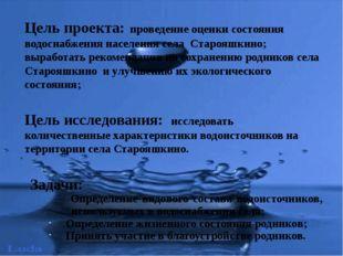 Цель проекта: проведение оценки состояния водоснабжения населения села Старо