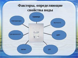 Факторы, определяющие свойства воды температура прозрачность запах привкус му