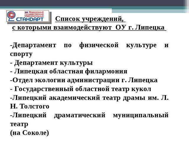 Список учреждений, с которыми взаимодействуют ОУ г. Липецка -Департамент по...