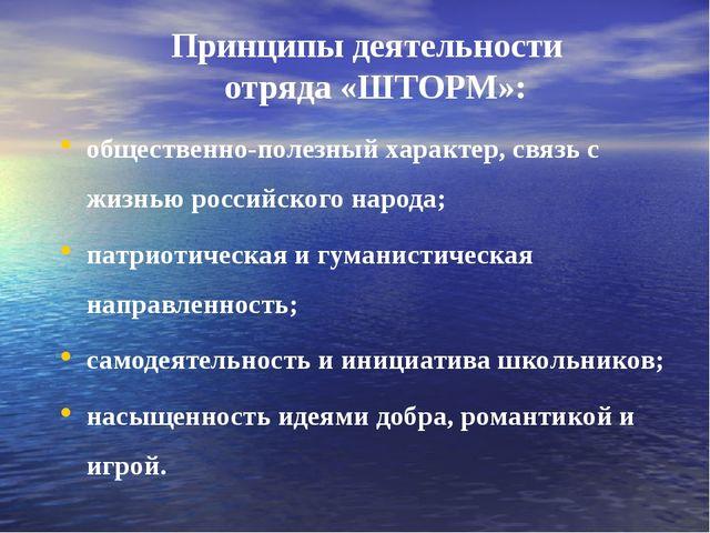 Принципы деятельности отряда «ШТОРМ»: общественно-полезный характер, связь с...