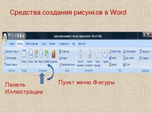 Средства создания рисунков в Word Панель Иллюстрации Пункт меню Фигуры