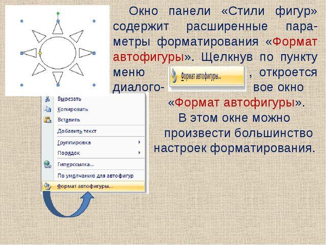 Окно панели «Стили фигур» содержит расширенные пара-метры форматирования «Фор...