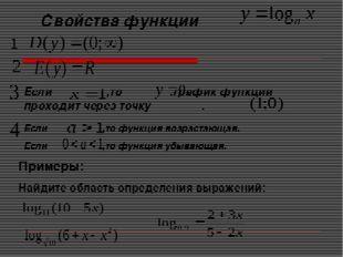Свойства функции Если ,то .график функции проходит через точку . Если ,то фун
