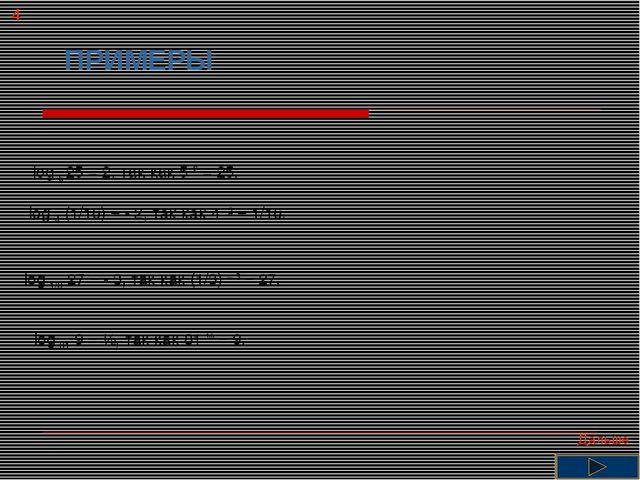 ПРИМЕРЫ log 5 25 = 2, так как 5 2 = 25. log 4 (1/16) = - 2, так как 4 -2 = 1/...