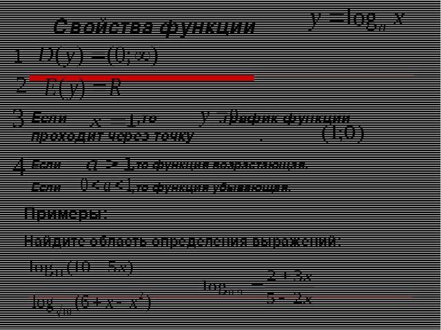 Свойства функции Если ,то .график функции проходит через точку . Если ,то фун...