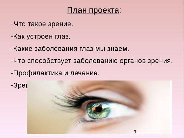 План проекта: -Что такое зрение. -Как устроен глаз. -Какие заболевания глаз м...