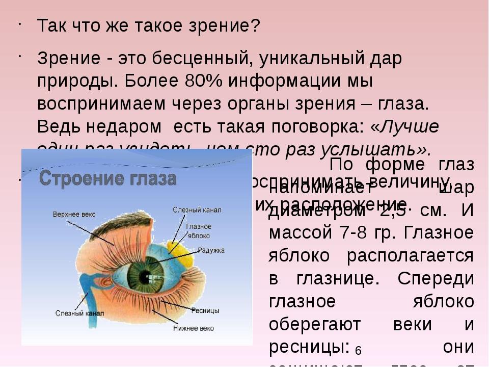 Так что же такое зрение? Зрение - это бесценный, уникальный дар природы. Боле...