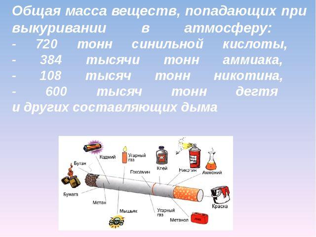 Общая масса веществ, попадающих при выкуривании в атмосферу: - 720 тонн синил...