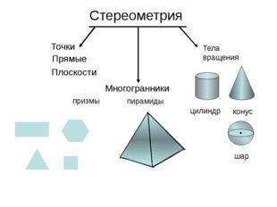 Стереометрия Точки Прямые Плоскости Многогранники призмы пирамиды Тела вращен