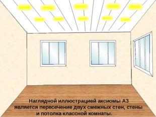 Наглядной иллюстрацией аксиомы А3 является пересечение двух смежных стен, ст