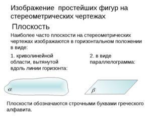 Изображение простейших фигур на стереометрических чертежах Плоскость Наиболее