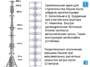 Оригинальная идея для строительства башни была найдена архитекторами Л. Батал