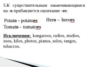 5.К существительным заканчивающимся на-oприбавляется окончание-es: Potato