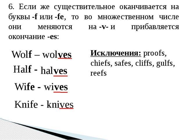 6. Если же существительное оканчивается на буквы-fили-fe, то во множествен...