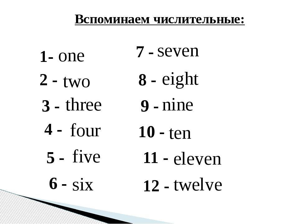 1- one 2 - two Вспоминаем числительные: 3 - three 4 - four 5 - five 6 - six 7...